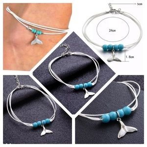 Jewelry - Mermaid Tail Beaded Whale Fin Anklet Bracelet Blue